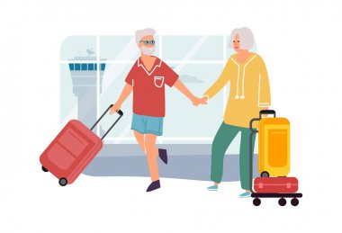 Senior couple in airport. Elderly man and woman travel. Cartoon people holding hands and carrying baggage. Vector passengers going to departure terminal with suitcases and handbags