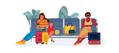 Family at waiting hall or reclaim area. Women and child sitting on bench in airport. Passengers with handbags and suitcases. People resting before flying on airplane. Vector traveling