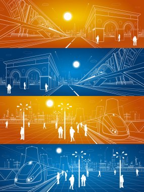 Railway station, people waiting for the train, industrial and transport illustration, energy plant, train rides on the bridge, night city, people walk on the square, auto road, vector design art