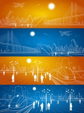 Seaport, railway station, people waiting for the train, industrial and transport illustration set, energy plant, big bridge, night city, people walk on the square, vector design art