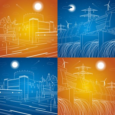 Hydro power plant, fabric, power station, energy illustrations, neon lines, day and night, vector lines design set