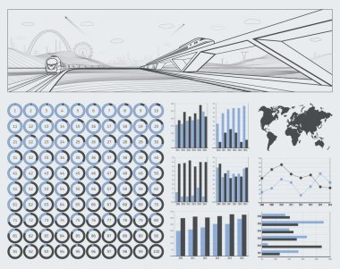 Infrastructure and transport illustration, infographics for your business and transport presentation, mountains, city on background, vector set ring diagrams, from 0 to 100 percent