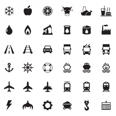 Set vector web icons, transport, petroleum, auto, travel, sea, aviation and industrial icons, vector icons for your design project or presentation, white icons