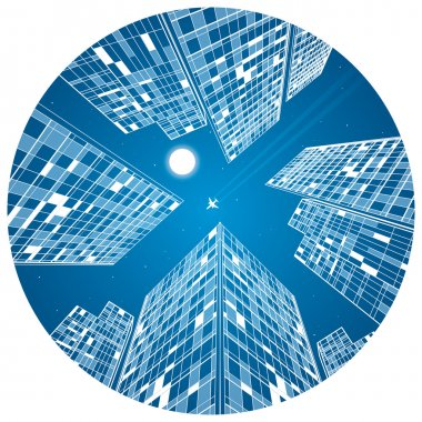 Airplane flying, business building, neon city, infrastructure illustration in the circle composition, vector design art