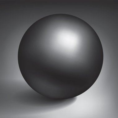 Vector volume black sphere, glossy dark metal ball, surround the object for you project design