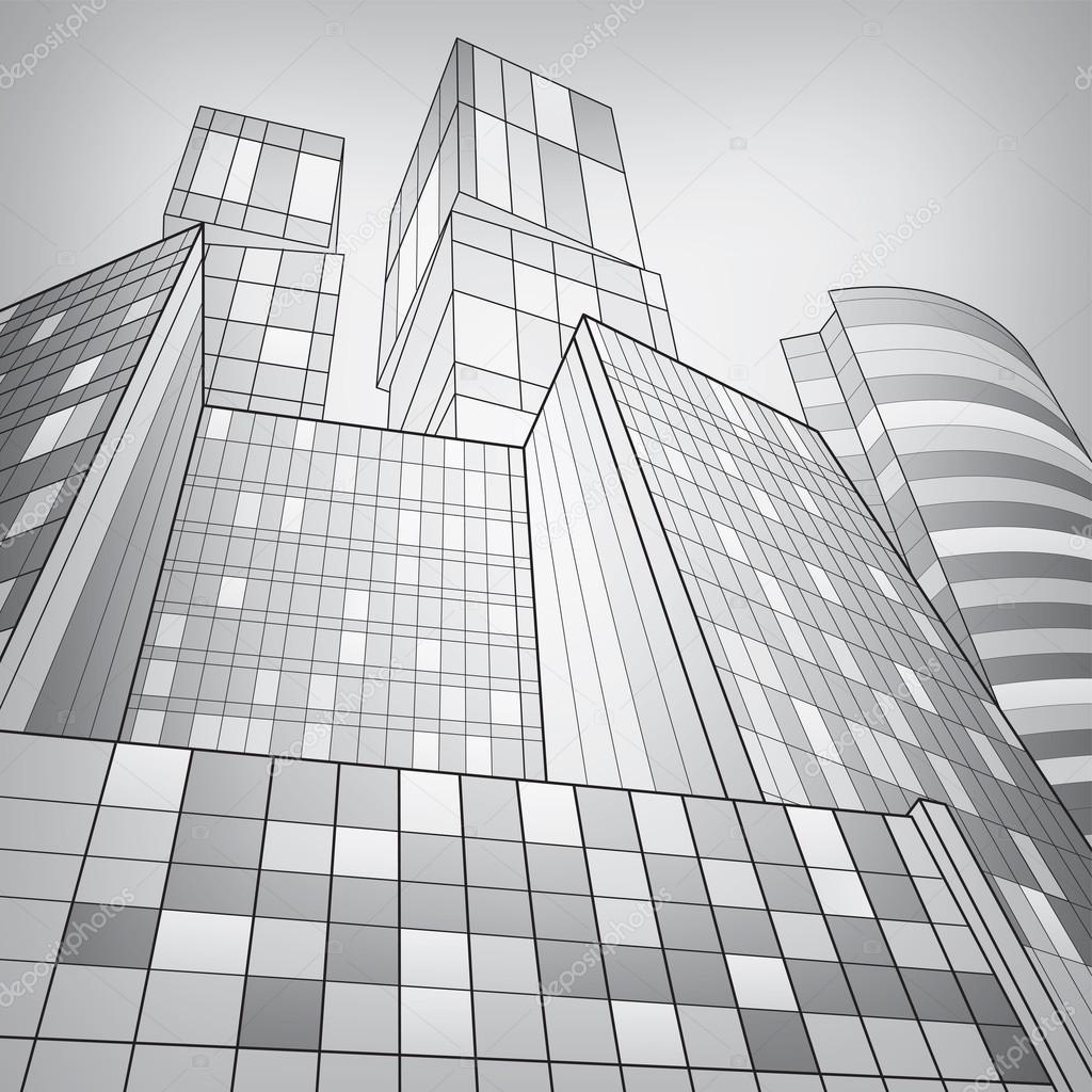 Dessin D Architecture Moderne : Immeuble commerce ville argentée illustration de l