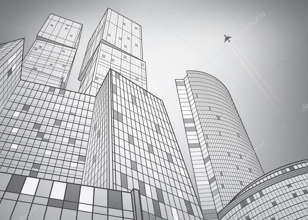 immeuble commerce  ville argent u00e9e  illustration de l
