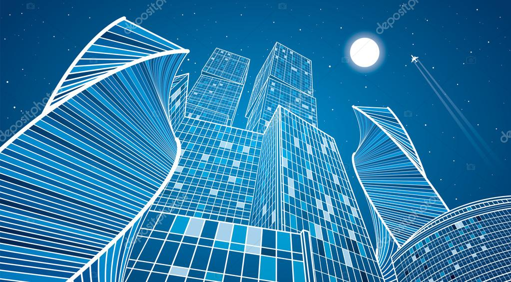 modern architecture skyscrapers. Business Building, Neon City, Infrastructure Illustration, Modern Architecture, Skyscrapers, Airplane Flying, Vector Design Art \u2014 By Panimoni Architecture Skyscrapers