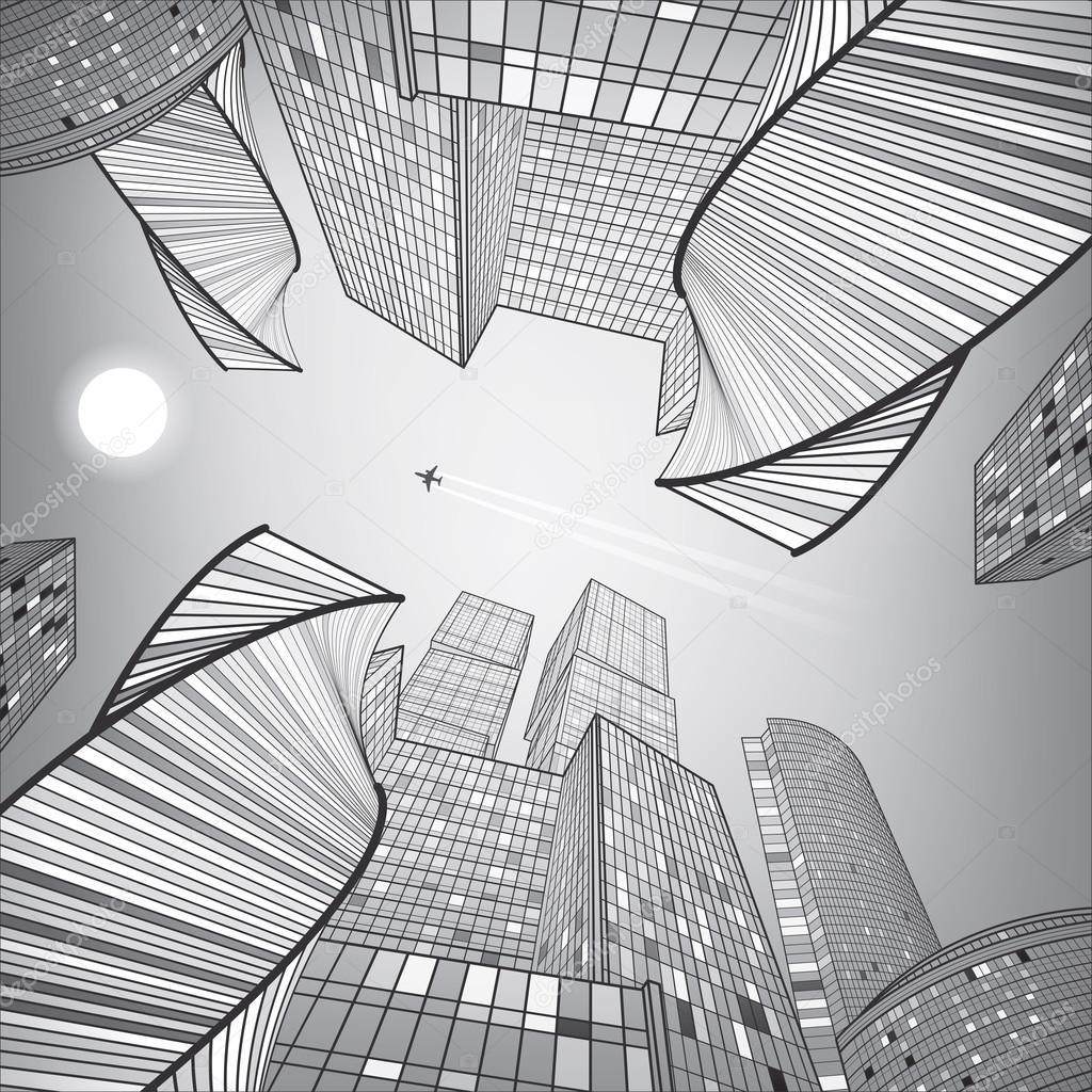 immeuble commerce ville argent e illustration de l infrastructure architecture moderne. Black Bedroom Furniture Sets. Home Design Ideas