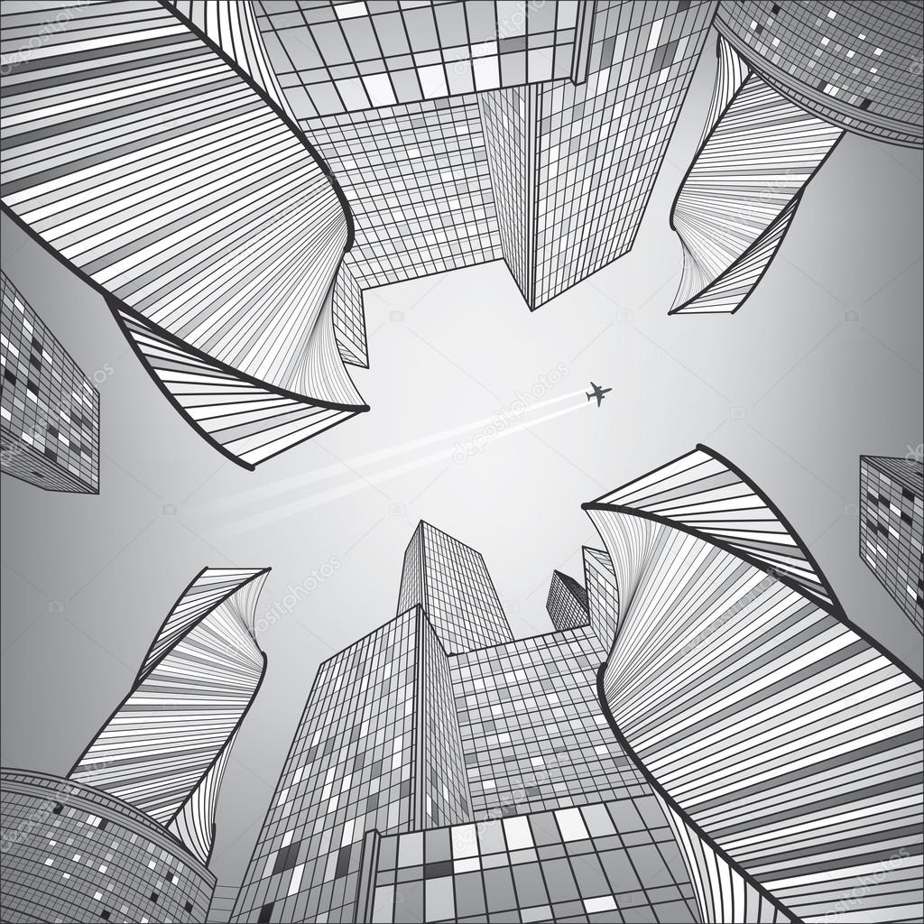 Business Building Silver City Urban Life Infrastructure Illustration Modern Architecture Skyscrapers Airplane Flying Vector Design Art By