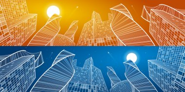 Business building, mega panorama of day and night city. Urban scene, infrastructure illustration, modern architecture, skyscrapers, airplanes flying, vector design art