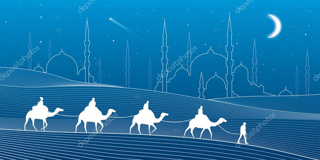 Caravan passes through the sand desert, dunes. Mosques and the tower on the horizon, white lines on blue background, night scene, vector design art