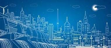 Hydro power plant, night city, neon lines, vector design, day and night