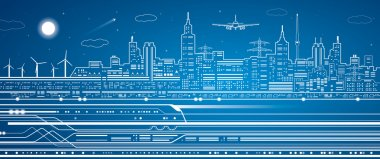 Vector lines train, train on the background of the light city, train go, airplane fly