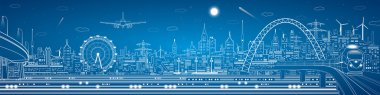 Vector industrial and transport panorama, vector lines landscape, night city, airlane fly, vector design