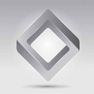 Impossible figure, smooth vector rhombus, abstract vector object, unreal form