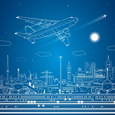 Airport, airplane fly, city infrastructure, vector lines design scene