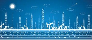 Petroleum panorama, industrial landscape, power plant, vector lines design