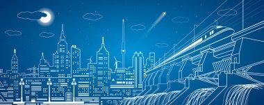 Hydro power plant, train move on the bridge, night city, neon lines, dam, vector design