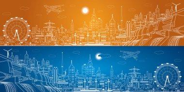 Energy panorama, hydro power plant, night city, neon lines, dam, vector design