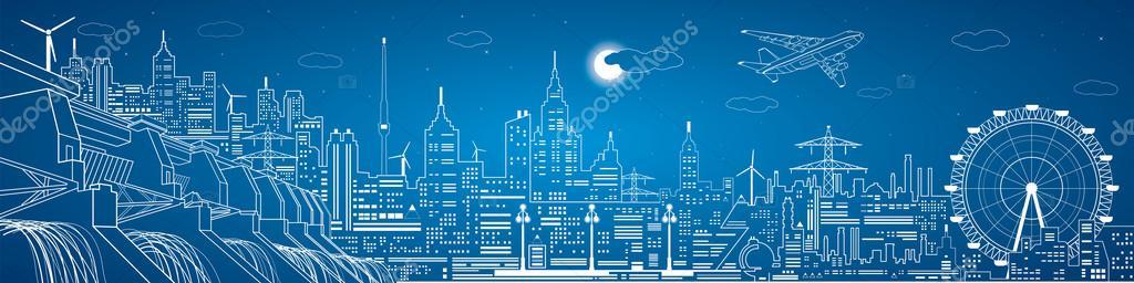 Energy panorama, hydro power plant, night city, neon lines, dam, vector  design ⬇ Vector Image by © panimoni | Vector Stock 61592403