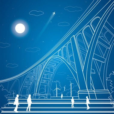 Vector big bridge, arch bridge, vector lines garden, people, vector art
