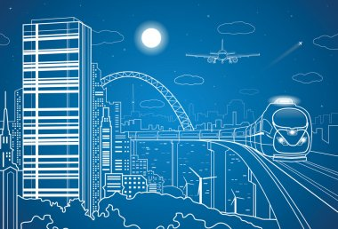 Vector city and transport panorama, vector lines landscape, night town, airplane fly, vector design, train on the bridge clip art vector