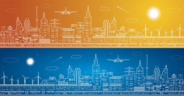 Vector lines city panorama, light town, airplane flies, vector design, day and night