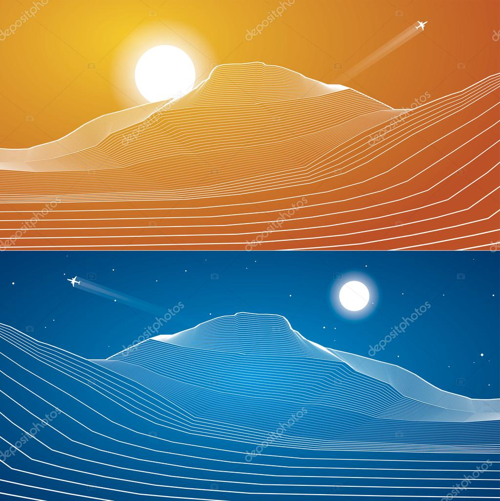 White lines, sand dunes, mountains, desert, abstraction composition, vector design background