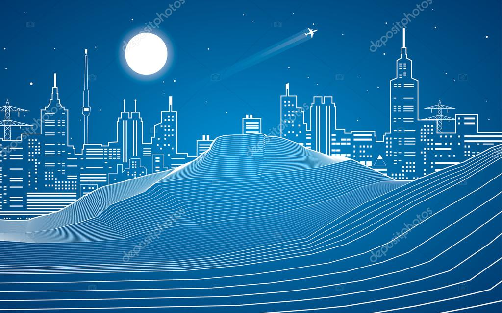 White lines, sand dunes, mountains, desert, night city on background, abstraction composition, vector design