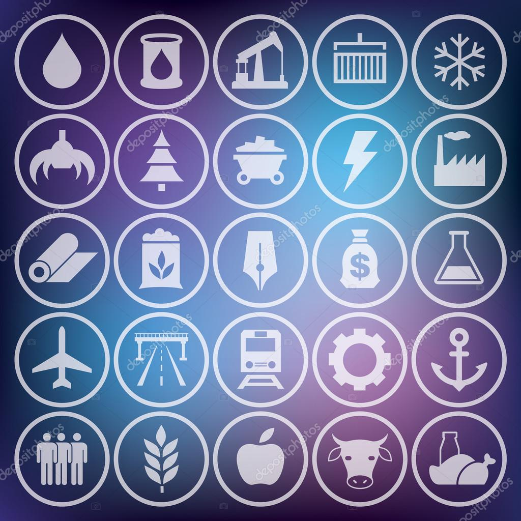 Icons set, industrial and transport pictogram, vector design