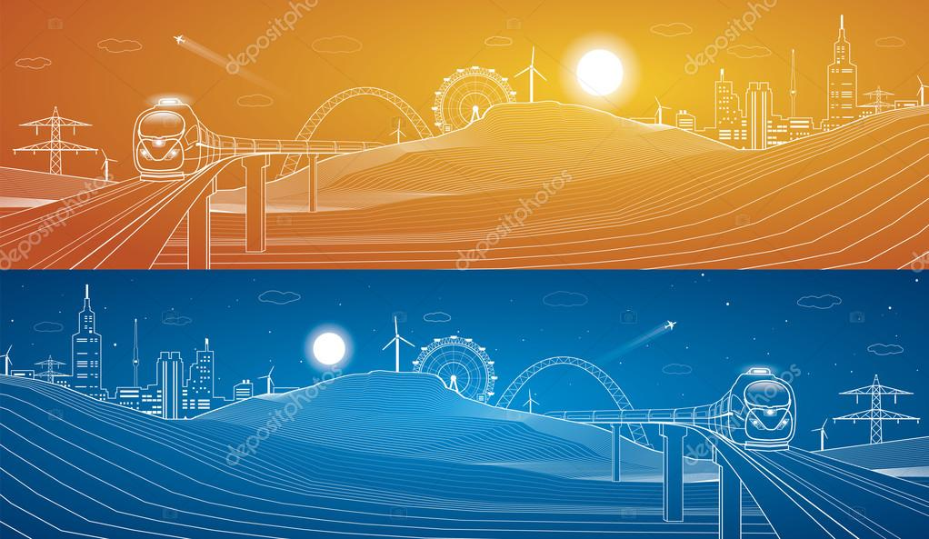 Train goes on the bridge through the mountains, city background, vector design art