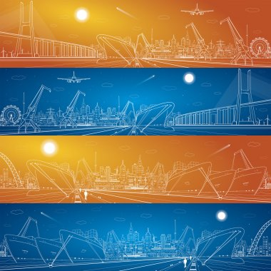 Industrial cargo port panorama, vector lines landscape, big bridge, night city, ships on the water