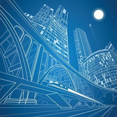 Train move on the bridge, night city and big bridge on background, vector industrial and transport illustration, vector lines landscape, night town, vector design