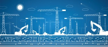 Building panorama, industrial landscape, building cranes, excavators, vector lines design