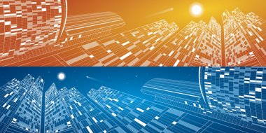 Airplane flying. Business center buildings, neon nights city, vector design panorama