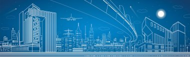 City panorama, night town, infrastructure landscape, planes take off, flyover, vector design art