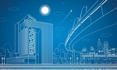 Vector nigh town, architecture, lines design, city infrastructure, overpass, vector bridge