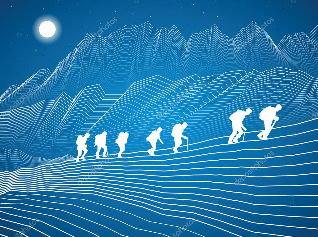 Hikers in the mountains, climbing in tandem, vector design art