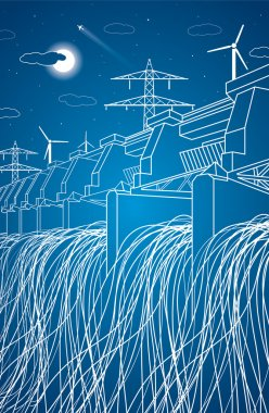 Hydro power plant, neon lines station, vector lines design