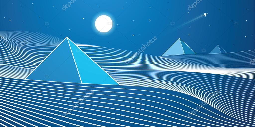 White lines, sand dunes, mountains, desert, day and night panorama, pyramid, vector design art