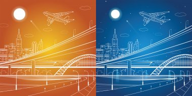 Car overpass, city infrastructure, urban plot, plane takes off, train move, transport illustration, day and night, vector design art