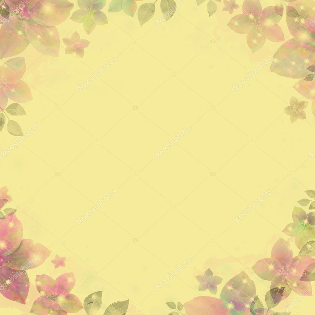 Ancient water color vignette, flickering flowers, yellow