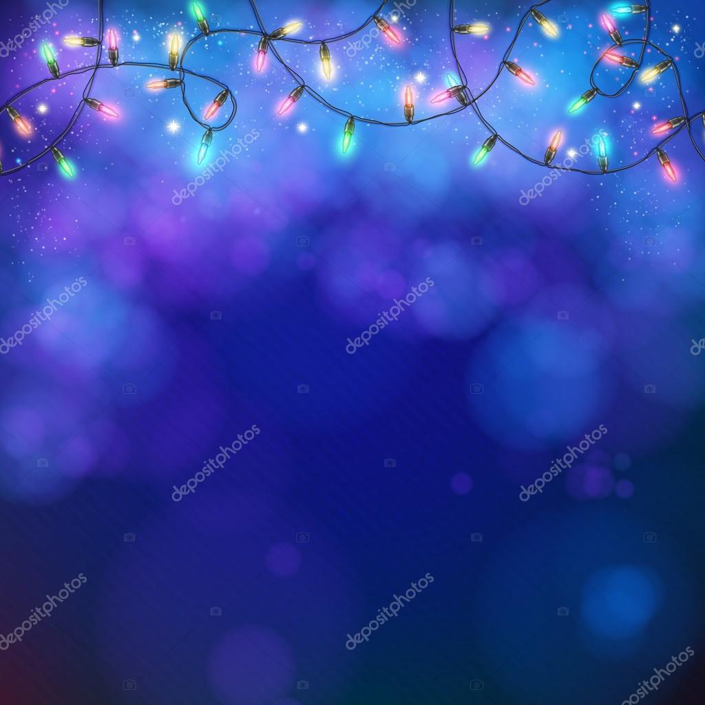 Blue party background with party lights and bokeh