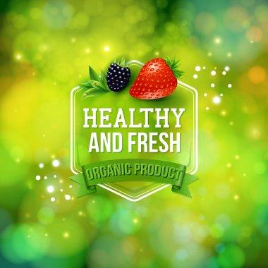Healthy Fresh Organic Product card vector design