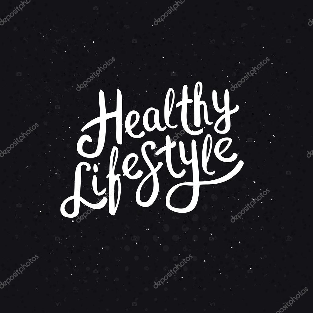 White Healthy Lifestyle Phrase on Abstract Black