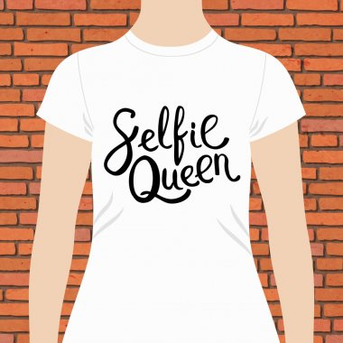 White Woman Shirt with Selfie Queen Texts Print