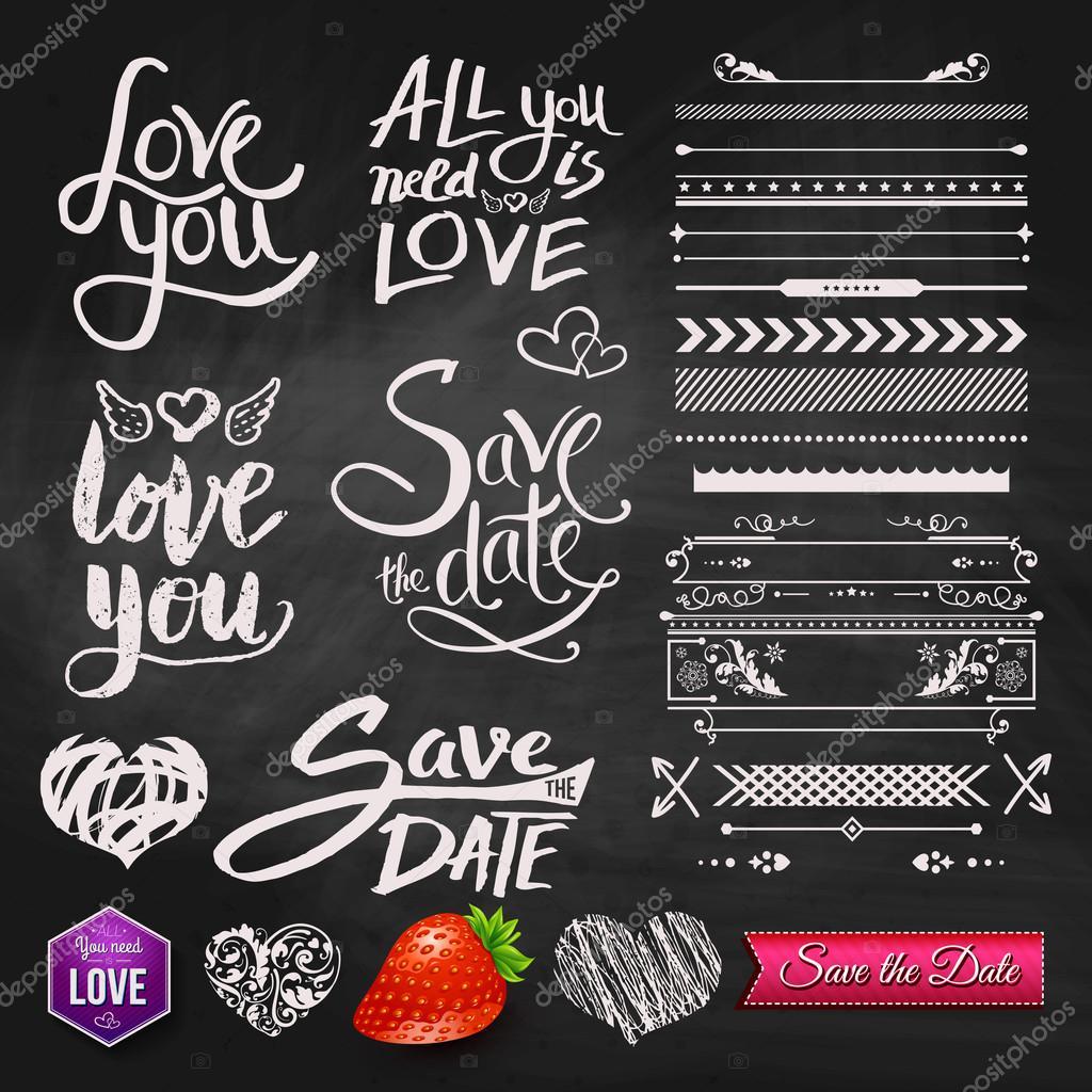 Love Phrases, Borders and Symbols on Chalkboard