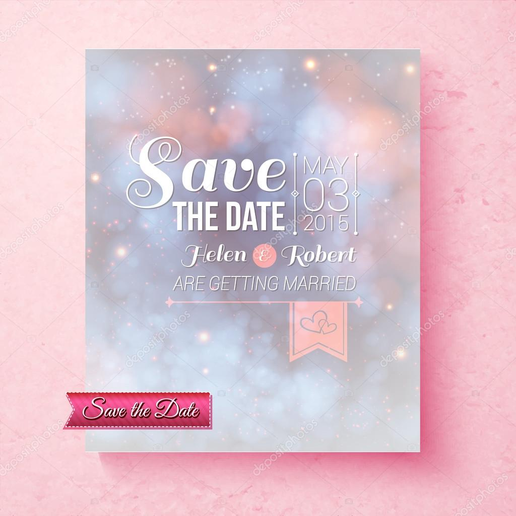 soft ethereal save the date wedding template stock vector