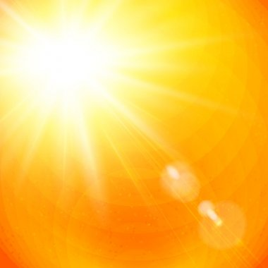 Vivid orange sunburst with sun flare from gases depicting the heat of a hot tropical summer sun, or a colorful sunset or sunrise, vector illustration clip art vector